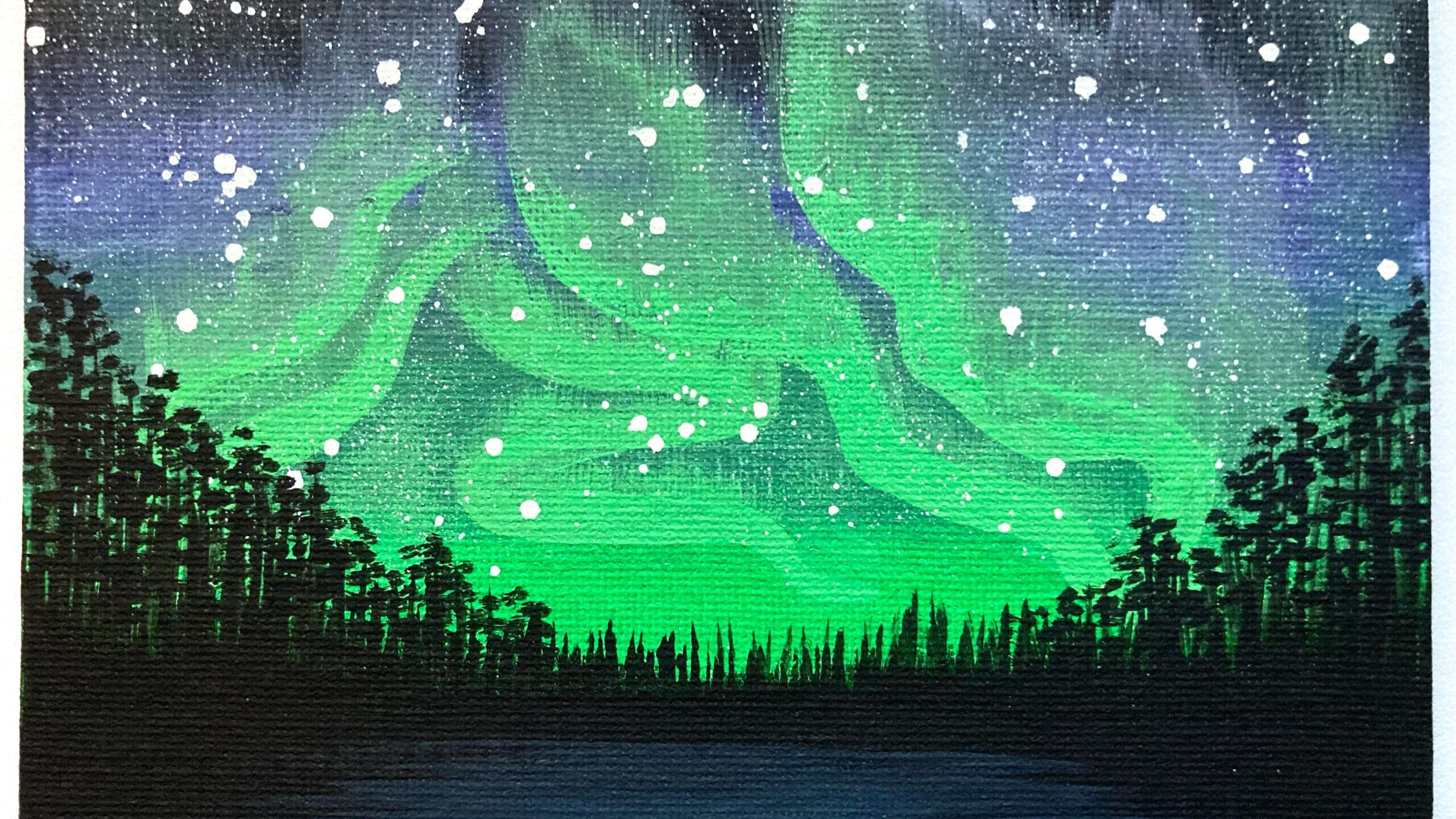 night time in the forest painting